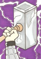 Thor's Hammer sketch card by Elvatron