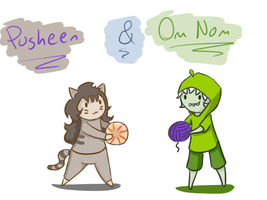 Pusheen and Om Nom (Group!!) by ForeverMuffin