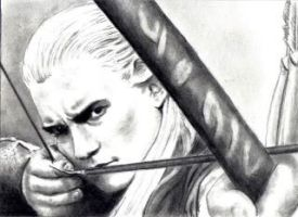 Legolas drawing bow by Dr-Horrible
