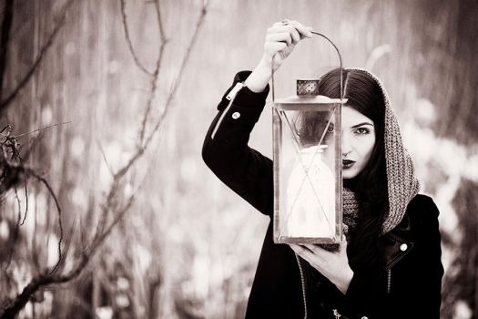 Girl with a lantern vintage by athrawn