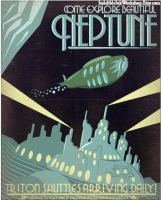 Retro Sci-fi Neptune Travel Poster by IndelibleInkWorkshop