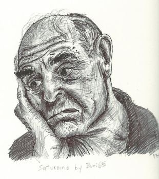 Ballpoint Old man Portrait by KingOfSoul81
