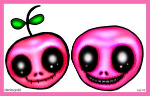 Two Pink Skullies by bebesushii