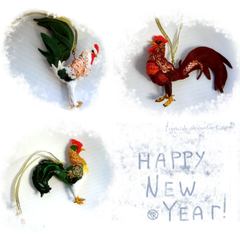 New Year Roosters by TigRaido