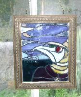 'Gothic Plague Doctor' stained glass panel by vulpinedesigns