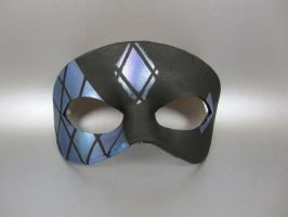 Blue and Purple Stained Glass Tiled Leather Mask by maskedzone