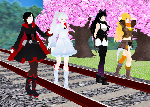 Team RWBY walking together by SuperVegeta1986