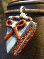 polymerclay cake chocloate.blue.choclate bow by BacktoEarthCreations