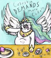 Celestia DEMANDS More Cake!!! by bluefalconjsh