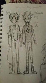 edger ll(EDGAH) or (egg2) and Archibald ( ARRON) by Ask-Olive-And-Oliver