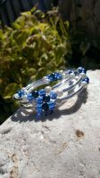 Blue Glass And Pearl Memory Wire Bracelet by Rini-Dragoone