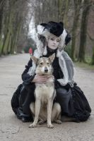 Stock - Baroque Lady sitting dog  gothic romantic by S-T-A-R-gazer