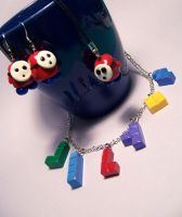 Shyguy and Tetris jewelry by Gimmeswords
