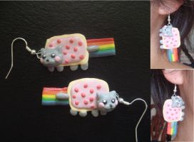 Nyan Cat Earrings by KittyAzura