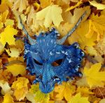 Autumn Blue Dragon Mask by merimask