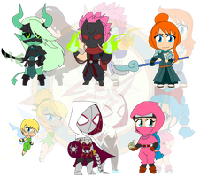 Assorted Chibis - Warriors of AU by Dragon-FangX