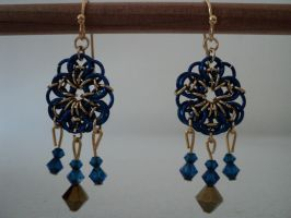 Blue and Gold Flower Earrings by ShinzuiOokami