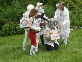 Portal cosplays surround companion cube by nintendocookies