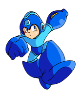 Mega Man Busting Away by JamesmanTheRegenold