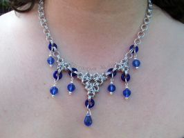Blue and silver chainmaille necklace by TerraNovaJewels