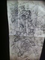 Pinup with roses full sleeve tattoo design by tattoosuzette