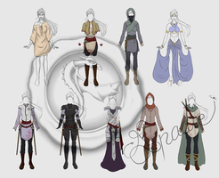 Aelys Dendroan outfits (coloured and french) by spadiekitchenqueen