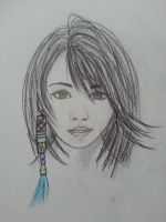 sketch of yuna with colour by LightningChaser