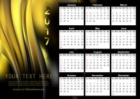 Vector Abstract Black and Gold Calendar 2017 by 123freevectors