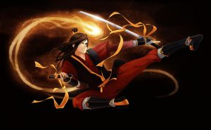Adult zuko fire bending with his dual swords by ahmedumer