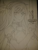 Sword Art Online Asuna Line Art by Joe-Ball
