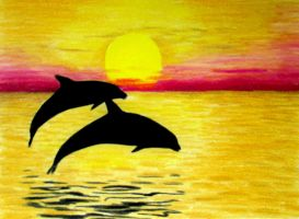2 dolphins and sunset drawing by JasminaSusak