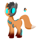 Cyborg Fox Pony OC by Zhooves