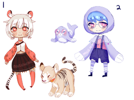 ADOPTS [CLOSED]: Animal Girls - AUCTION by Mousehearts