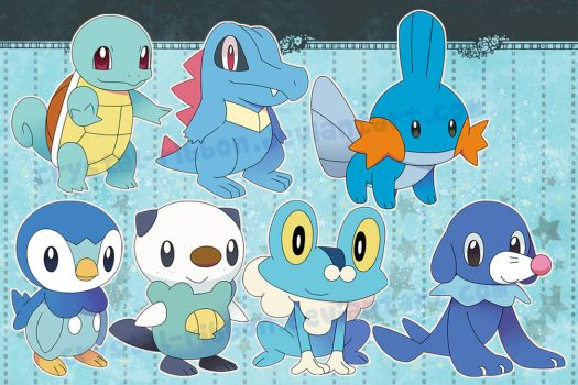 pokemon water starters - stickers by Crystal-Ribbon