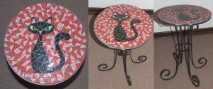 Cat wrought iron mosaic table Red by EleonoraIlieva