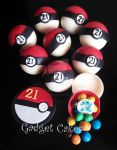 Edible Pokemon Balls with chocs and edible pics by gadgetcakes