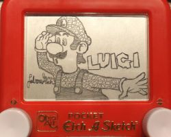 Luigi Etch a Sketch by pikajane