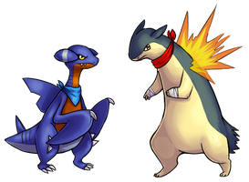 gabite and typhlosion by Vullo