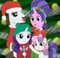 Rarity's Family Christmas Photo by godzilla3092