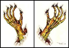 Zombie hands - tattoo design by mooninthescorpio