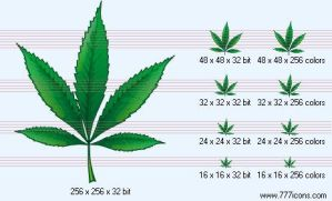 Hemp leaf Icon by science-icons