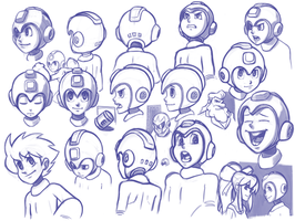 mega man head studies by RyanJampole