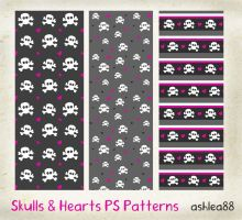 PS Patterns -Skulls and Hearts by ashzstock
