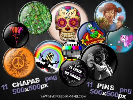 Chapas - Pins  pack PNG by MARIFRIKI
