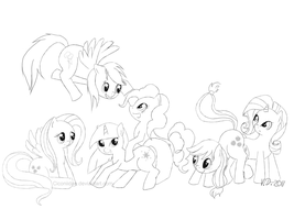 Mane Six Lineart by Ciconiidae