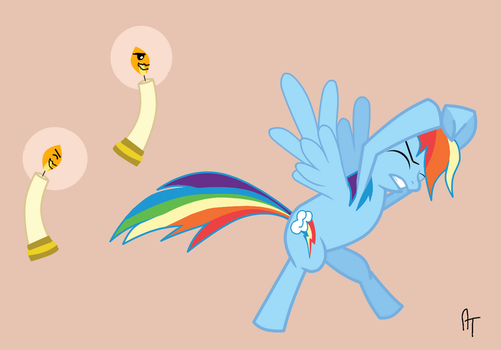 Rainbow Dash vs. Evil Candles! by HappyCamperCreations