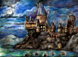 Watercolor Painting of Hogwarts - Harry Potter by davidsobo