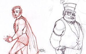 Superman and Penguin sketches by CaptainChants