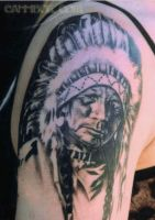 chief hollow horn bear tat by cannibol