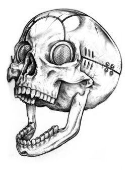 Cyber Skull Tattoo Design by wolfmweh